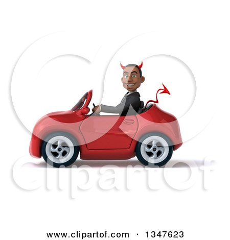 Clipart of a 3d Young Black Devil Businessman Driving a Red Convertible Car to the Left - Royalty Free Illustration by Julos