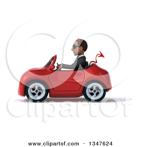 Clipart of a 3d Young Black Devil Businessman Wearing Sunglasses and Driving a Red Convertible Car to the Left - Royalty Free Illustration by Julos