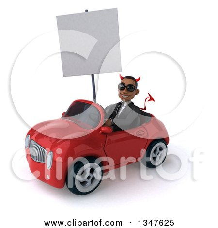 Clipart of a 3d Young Black Devil Businessman Wearing Sunglasses, Holding a Blank Sign and Driving a Red Convertible Car Slightly to the Left - Royalty Free Illustration by Julos