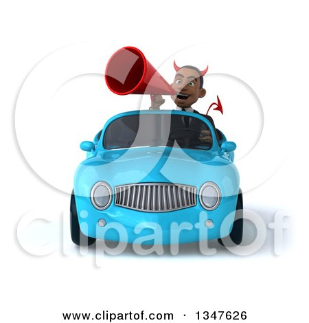 Clipart of a 3d Young Black Devil Businessman Announcing with a Megaphone and Driving a Blue Convertible Car - Royalty Free Illustration by Julos