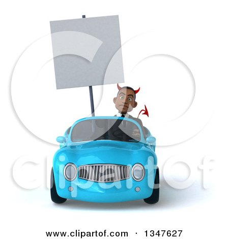 Clipart of a 3d Young Black Devil Businessman Holding a Blank Sign and Driving a Blue Convertible Car - Royalty Free Illustration by Julos