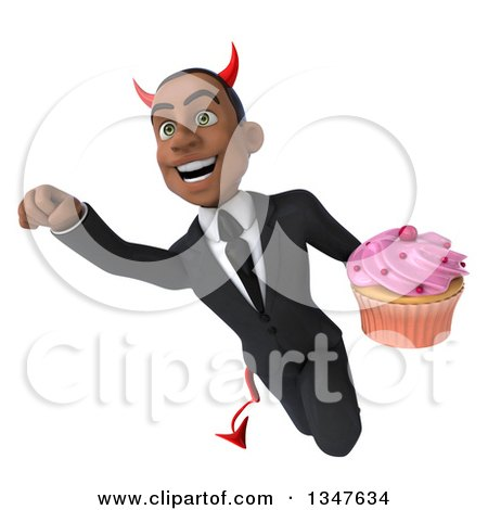 Clipart of a 3d Young Black Devil Businessman Holding a Cupcake and Flying - Royalty Free Illustration by Julos