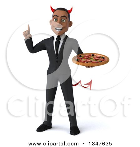 Clipart of a 3d Young Black Devil Businessman Holding up a Finger and a Pizza - Royalty Free Illustration by Julos