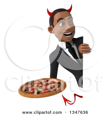 Clipart of a 3d Young Black Devil Businessman Holding a Pizza Around a Sign - Royalty Free Illustration by Julos