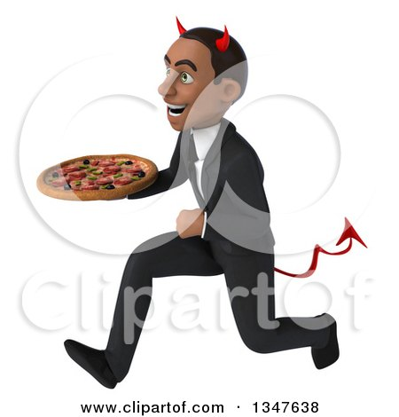 Clipart of a 3d Young Black Devil Businessman Holding a Pizza and Sprinting to the Left - Royalty Free Illustration by Julos