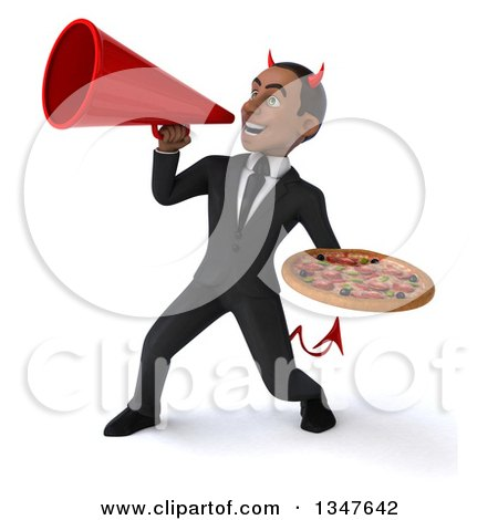 Clipart of a 3d Young Black Devil Businessman Holding a Pizza and Announcing with a Megaphone - Royalty Free Illustration by Julos