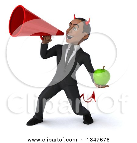 Clipart of a 3d Young Black Devil Businessman Holding a Green Apple and Announcing with a Megaphone - Royalty Free Illustration by Julos