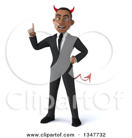 Clipart of a 3d Young Black Devil Businessman Holding up a Finger - Royalty Free Illustration by Julos
