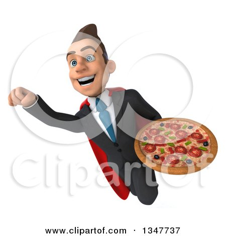 Clipart of a 3d Super White Businessman Holding a Pizza and Flying - Royalty Free Illustration by Julos