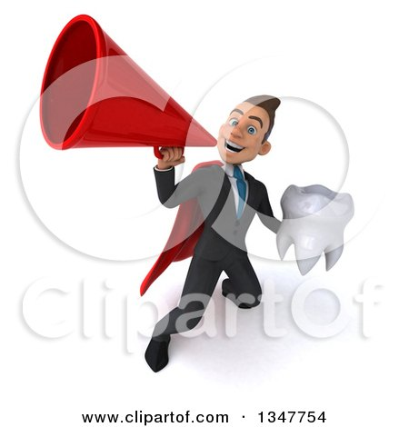 Clipart of a 3d Super White Businessman Holding a Tooth and Announcing Upwards with a Megaphone - Royalty Free Illustration by Julos