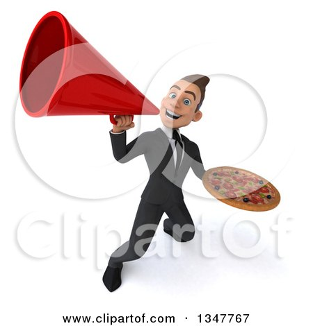 Clipart of a 3d Young White Businessman Holding a Pizza and Announcing with a Megaphone - Royalty Free Illustration by Julos