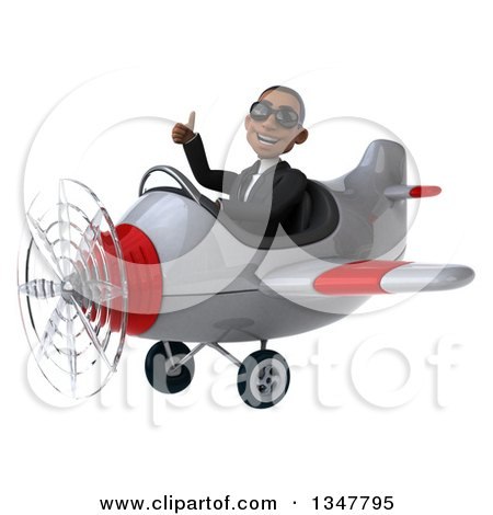 Clipart of a 3d Young Black Businessman Aviator Pilot Wearing Sunglasses, Giving a Thumb up and Flying a White and Red Airplane Slightly to the Left - Royalty Free Illustration by Julos