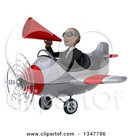 Clipart of a 3d Young Black Businessman Aviator Pilot Wearing Sunglasses, Announcing with a Megaphone and Flying a White and Red Airplane Slightly to the Left - Royalty Free Illustration by Julos