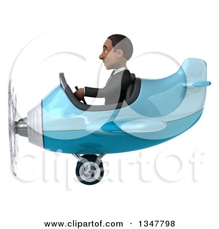 Clipart of a 3d Young Black Businessman Aviator Pilot Flying a Blue Airplane to the Left - Royalty Free Illustration by Julos