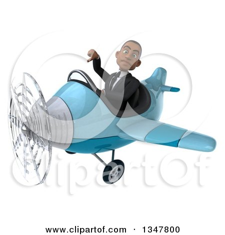 Clipart of a 3d Young Black Businessman Aviator Pilot Giving a Thumb down and Flying a Blue Airplane Slightly to the Left - Royalty Free Illustration by Julos
