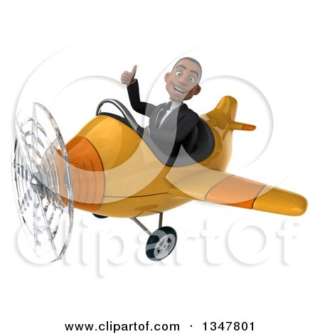 Clipart of a 3d Young Black Businessman Aviator Pilot Giving a Thumb up and Flying a Yellow Airplane Slightly to the Left - Royalty Free Illustration by Julos
