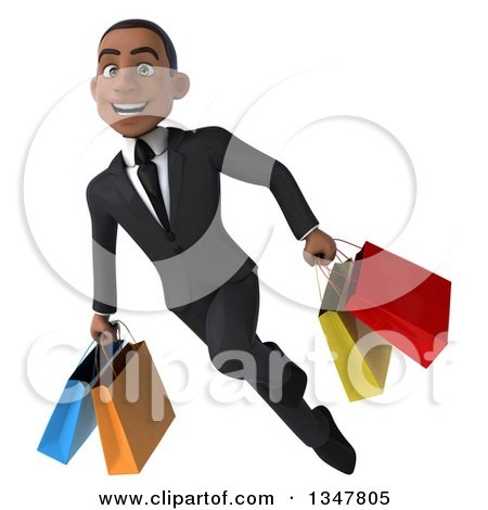 Clipart of a 3d Young Black Businessman Flying with Shopping Bags - Royalty Free Illustration by Julos