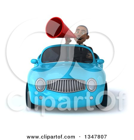 Clipart of a 3d Young Black Businessman Announcing with a Megaphone and Driving a Blue Convertible Car - Royalty Free Illustration by Julos