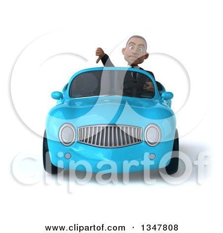 Clipart of a 3d Young Black Businessman Giving a Thumb down and Driving a Blue Convertible Car - Royalty Free Illustration by Julos