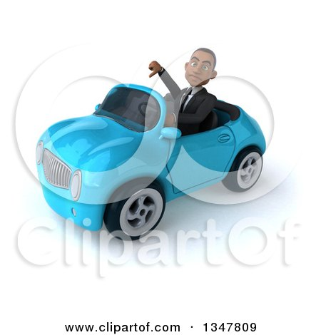 Clipart of a 3d Young Black Businessman Giving a Thumb down and Driving a Blue Convertible Car Slightly to the Left - Royalty Free Illustration by Julos