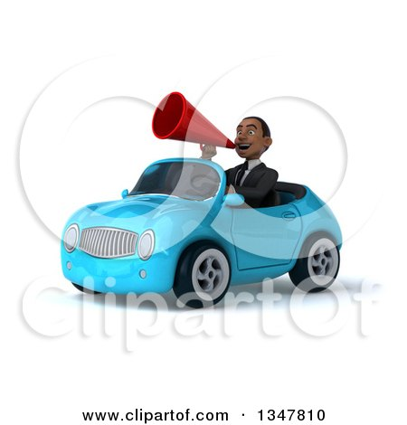 Clipart of a 3d Young Black Businessman Announcing with a Megaphone and Driving a Blue Convertible Car Slightly to the Left - Royalty Free Illustration by Julos