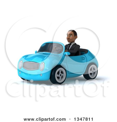 Clipart of a 3d Young Black Businessman Driving a Blue Convertible Car Slightly to the Left - Royalty Free Illustration by Julos