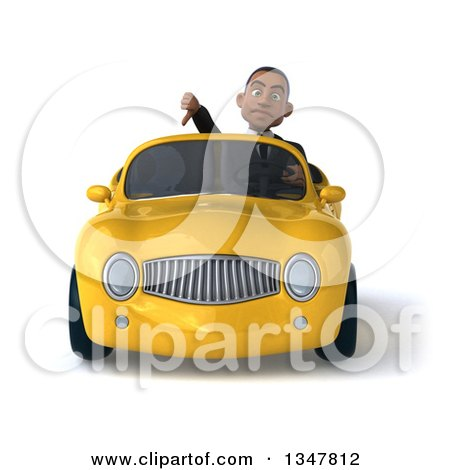 Clipart of a 3d Young Black Businessman Giving a Thumb down and Driving a Yellow Convertible Car - Royalty Free Illustration by Julos