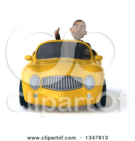 Clipart of a 3d Young Black Businessman Giving a Thumb up and Driving a Yellow Convertible Car - Royalty Free Illustration by Julos