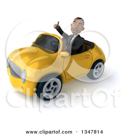 Clipart of a 3d Young Black Businessman Giving a Thumb up and Driving a Yellow Convertible Car Slightly to the Left - Royalty Free Illustration by Julos