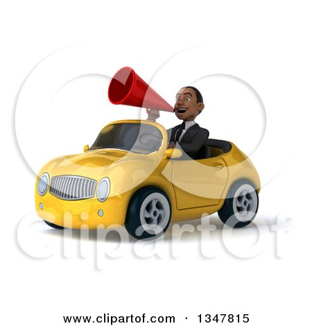 Clipart of a 3d Young Black Businessman Announcing with a Megaphone and Driving a Yellow Convertible Car Slightly to the Left - Royalty Free Illustration by Julos