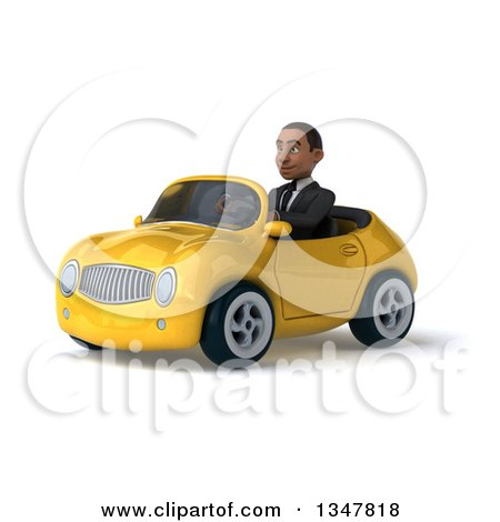 Clipart of a 3d Young Black Businessman Driving a Yellow Convertible Car Slightly to the Left - Royalty Free Illustration by Julos