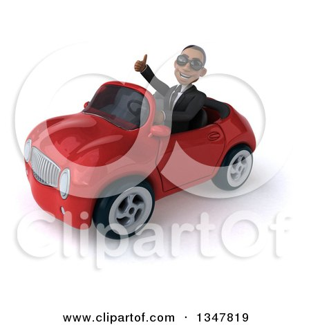 Clipart of a 3d Young Black Businessman Wearing Sunglasses, Giving a Thumb up and Driving a Red Convertible Car Slightly to the Left - Royalty Free Illustration by Julos