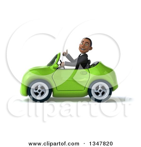 Clipart of a 3d Young Black Businessman Giving a Thumb up and Driving a Green Convertible Car to the Left - Royalty Free Illustration by Julos