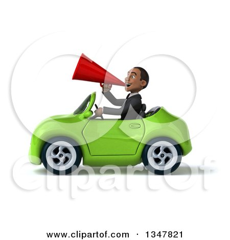 Clipart of a 3d Young Black Businessman Announcing with a Megaphone and Driving a Green Convertible Car to the Left - Royalty Free Illustration by Julos