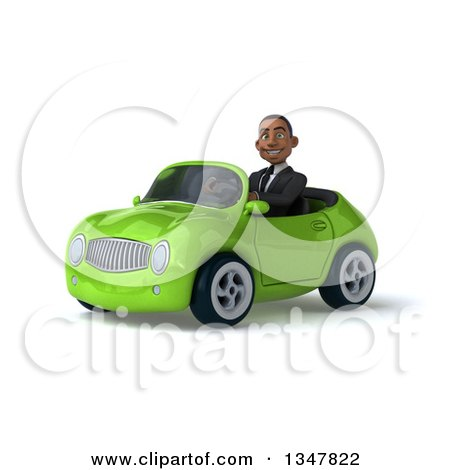 Clipart of a 3d Young Black Businessman Driving a Green Convertible Car Slightly to the Left - Royalty Free Illustration by Julos