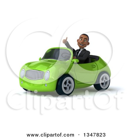 Clipart of a 3d Young Black Businessman Giving a Thumb up and Driving a Green Convertible Car Slightly to the Left - Royalty Free Illustration by Julos