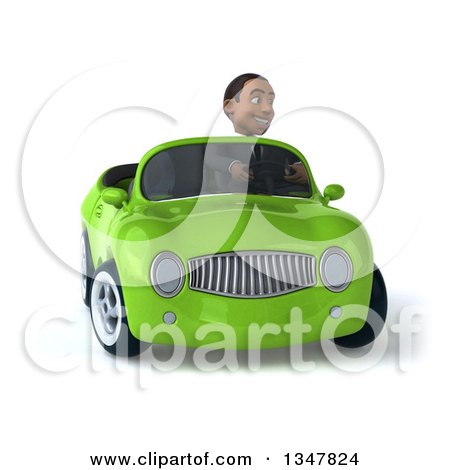 Clipart of a 3d Young Black Businessman Driving a Green Convertible Car and Turning - Royalty Free Illustration by Julos