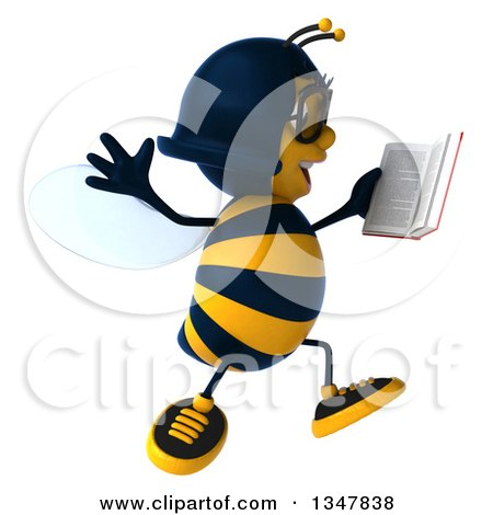 Clipart of a 3d Bespectacled Female Bee Jumping and Reading a Book - Royalty Free Illustration by Julos