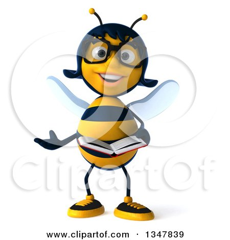 Clipart of a 3d Bespectacled Female Bee Presenting and Holding a Book - Royalty Free Illustration by Julos