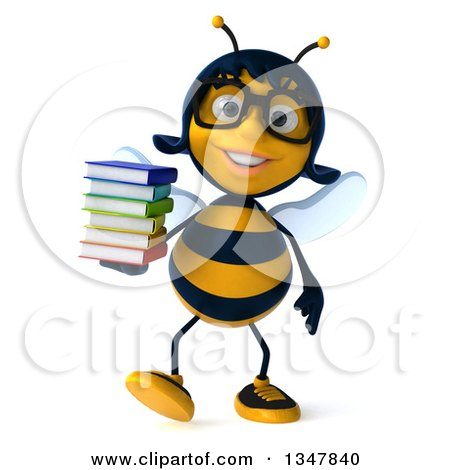 Clipart of a 3d Bespectacled Female Bee Walking and Holding a Stack of Books - Royalty Free Illustration by Julos
