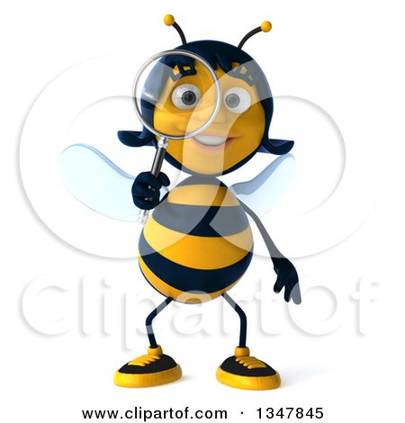 Clipart of a 3d Female Bee Searching with a Magnifying Glass - Royalty Free Illustration by Julos