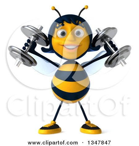 Clipart of a 3d Happy Female Bee Working Out, Doing Shoulder Presses with Dumbbells - Royalty Free Illustration by Julos