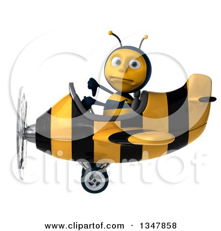 Clipart of a 3d Male Aviator Pilot Bee Giving a Thumb down and Flying a Yellow and Black Striped Airplane to the Left - Royalty Free Illustration by Julos