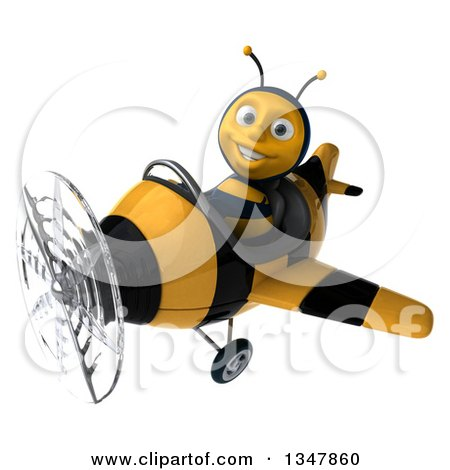 Clipart of a 3d Happy Male Aviator Pilot Bee Flying a Yellow and Black Striped Airplane Slightly to the Left - Royalty Free Illustration by Julos