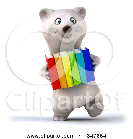 Clipart of a 3d Happy Polar Bear Walking and Carrying Colorful Books - Royalty Free Illustration by Julos