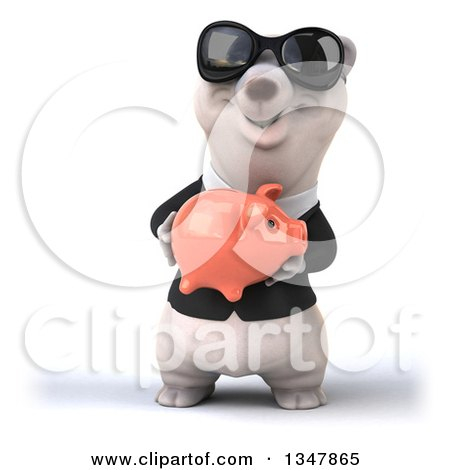 Clipart of a 3d Business Polar Bear Wearing Sunglasses and Holding a Piggy Bank - Royalty Free Illustration by Julos