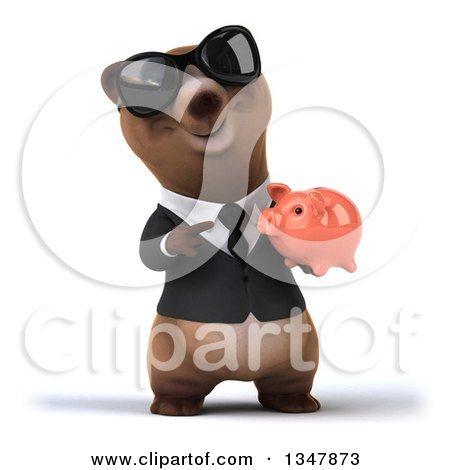 Clipart of a 3d Happy Brown Business Bear Wearing Sunglasses, Holding and Pointing to a Piggy Bank - Royalty Free Illustration by Julos
