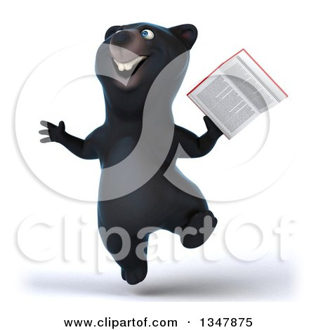 Clipart of a 3d Happy Black Bear Jumping and Holding a Book - Royalty Free Illustration by Julos