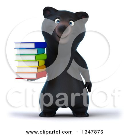 Clipart of a 3d Happy Black Bear Holding a Stack of Colorful Books - Royalty Free Illustration by Julos