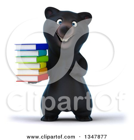 Clipart of a 3d Happy Black Bear Holding and Pointing to a Stack of Colorful Books - Royalty Free Illustration by Julos